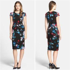 Betsey Johnson Floral Sheath Dress Cap Sleeves 6